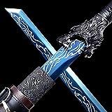 VARWANEO Wolf Head Chinese Kungfu Broadsword Sword Katana Wushu Da Dao Sharp High Manganese Steel Blue Blade Full Tang Knife