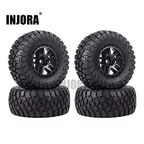 INJORA 4PCS Rubber Tire Wheel Rim for 1/10 Short Course Car TRAXXAS Slash VKAR 10SC (AX4006)