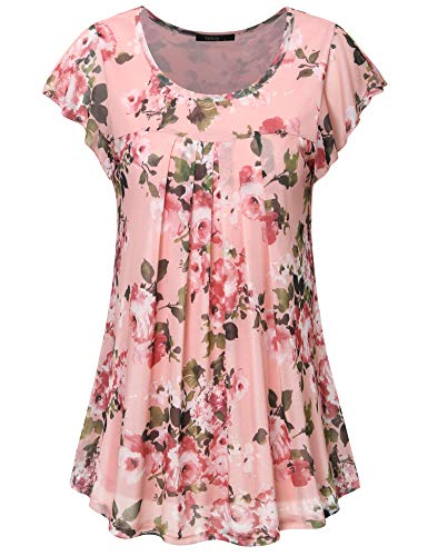Vafoly Damen Tunika Shirts, Damen Freizeit Sommer Bluse Kurzarm O Neck Geschwungener Saum Blumen Oberteile Shirt mit Falten Pink XXL