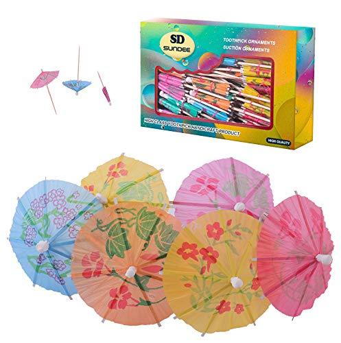 144 Stück Cocktail-Schirme, 10,2 cm, bunte Cocktail-Strand-Party-Regenschirme, Papier-Schirm Sonnenschirm Cocktail-Picker für Getränke und Party