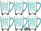 Juego de 6 vasos de café con asa multicolor de cristal para desayuno,...