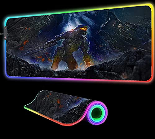 Mouse Pads Halo Mouse Pad Gaming RGB LED Computer Pad Large Gaming Gamer Game Laptop Notebook PC Desk Mat,35.43 inch x15.74 inch