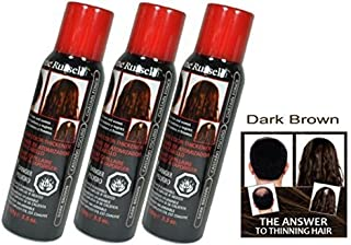 DARK BROWN Jerome Russell Spray on Hair Color Thickener (Easily covers up light to medium bald spots, hides gray, and makes hair look fuller) - Size 3.5 Oz (Pack of 3)