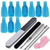 10pcs Clip Uñas de Plastico Pinzas Manicura para Uñas de Gel Removedor de Esmaltes Nail Art Soak Off Clip + Kit 5pcs Herramienta de Manicura para Limpiar Uñas y Quitar Cutículas (Kit Azul)