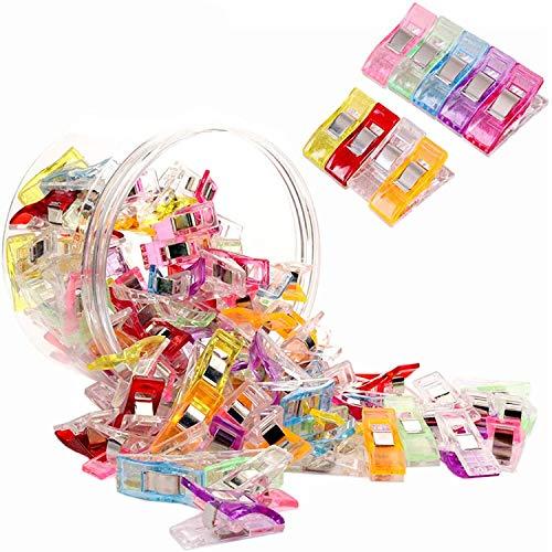 VEGCOO - Lote de 128 pinzas de coser, 2,7 x 1,0 x 1,5 cm, hilo de aguja de plástico contrapesante con proceso de tejer con ganchillo, un total de 9 colores diferentes