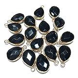 natural stone pendants waterdrop shape faceted black agate stone chakra reiki healing semi gemstone pendant for jewelry making necklace bracelet 14x22mm 10 Pcs