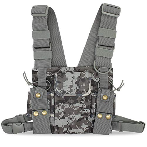 abcGoodefg Radio Chest Harness Chest Front Pack Pouch Holster Vest Rig for Two Way Radio Walkie Talkie Camouflage (Rescue Essentials)
