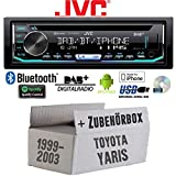 Toyota Yaris P1 1999-2003 - Autoradio Radio JVC KD-DB902BT - Bluetooth | DAB+ | CD | Spotify | USB | Android | iPhone Einbauzubehör - Einbauset