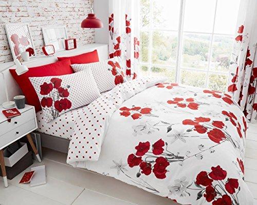 Quest-Mart® Luxuriöses Bettwäsche-Set mit Mohnblumen, bedruckt, Bettbezug und Kissenbezug, Polycotton, rot, Einzelbett
