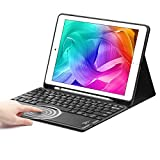 iPad 8th Gen (10.2 inch) Keyboard Case, SENGBIRCH Touchpad Detachable Keyboard Compatible with iPad 7th Generation - Smart Cover with Pencil Holder for iPad 10.2 /iPad Air 3rd Gen - Black