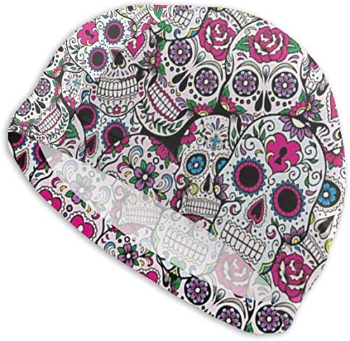 HFHY Swim Cap Hat Rose Flowers Sugar Skull Swim Hat for Long Hair, Thick Or Short - Average/Large Heads
