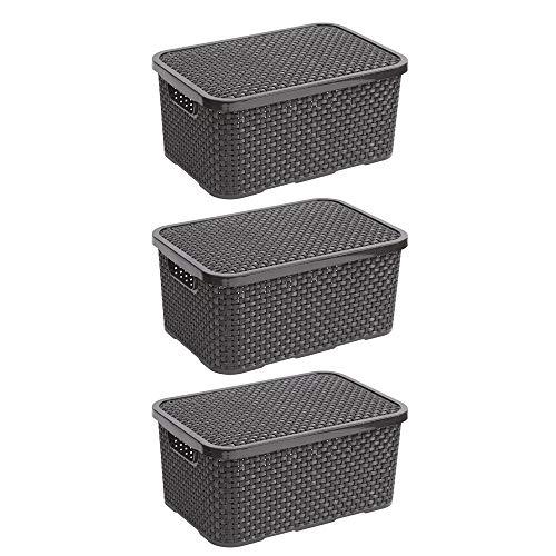BranQ - Home essential 5901098045605 Rattan im Trend-Juego de cestas (3 Unidades, tamaño S, 7 L), plástico PP, Antracita, 28,5x19,5x12,9 cm