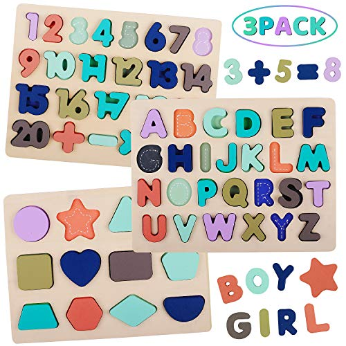 Wooden Puzzles for Toddlers, LENNYSTONE Wooden Alphabet Number Shape Puzzles Board Toddler Preschool Learning Toys for Kids Ages 3 4 5 6 (Set of 3)