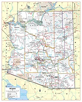Cool Owl Maps Arizona State Wall Map Poster Rolled  Paper 24 x30