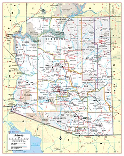 Cool Owl Maps Arizona State Wall Map Poster Rolled (Paper 24'x30')