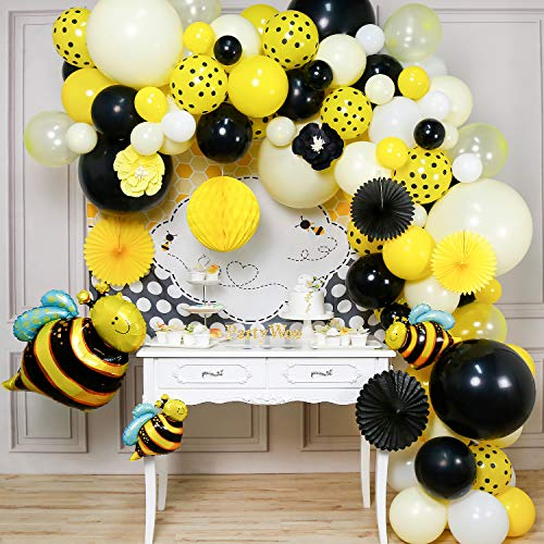 PartyWoo Luftballon Bienen, 107 Stück Luftballons Schwarz Gelb, Biene Folienballons, Luftballons Punkte, Ballon Weiß mit Papierblumen, Wabenbälle, Papier Fächer, Biene Hintergrund für Biene Deko