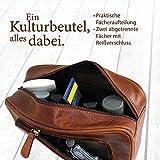 Corno d´Oro Großer Leder Kulturbeutel Damen & Herren I Männer Kulturtasche für Handgepäck & Koffer I Frauen XL Kosmetiktasche braun CD500 - 5
