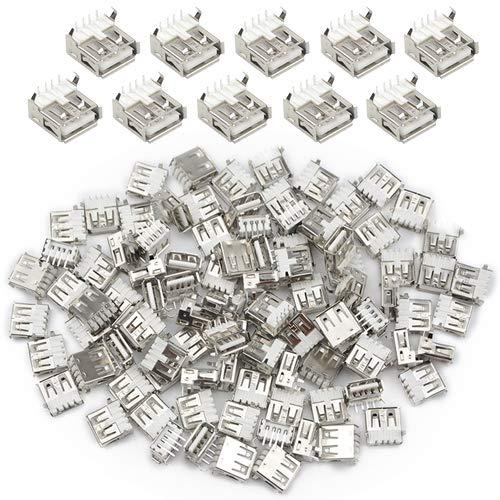 XLX Lot de 100 connecteurs USB type A femelle à souder à angle droit 4 broches