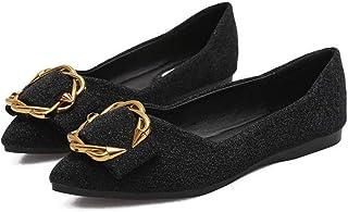 XL_nsxiezi Zapatos Planos de Las Mujeres de Las niñas Zapatos de Punta de Gran tamaño