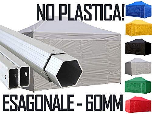 Crivellaro Ingrosso Gazebo Professionale 4x6 6x4 in Alluminio Esagonale 6cm - Impermeabile Pieghevole richiudibile Automatico rapido - Alu ESA 6cm tendone Fisarmonica Fiera Mercato Stand Tenda