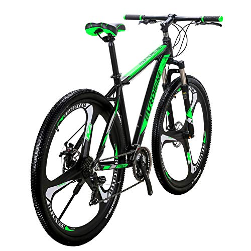 Eurobike X9 Mountain Bike Aluminum Frame 29 Inches 3-Spoke Wheels 21 Speed Dual Disc Brake Moutain Bicycle Black-green