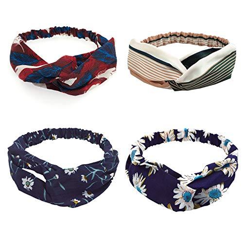 UPhitnis 4 Stück Stirnband Damen Mädchen | Elastische Blume Gedruckt Stirnbänder Haarband für Frühling Sommer | Cross Kopfband für...