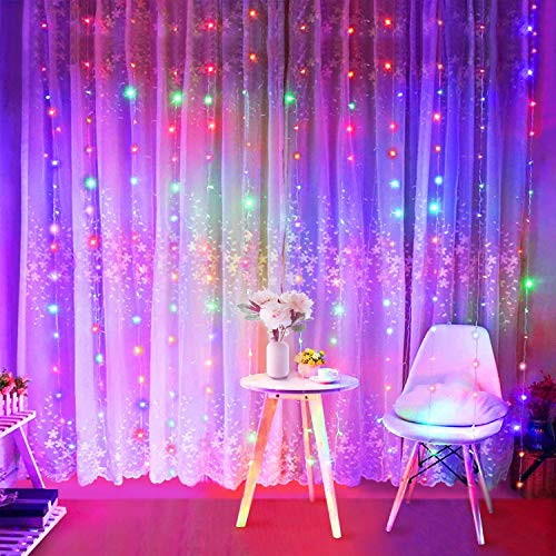 Curtain Fairy Lights, SUNNEST 300 LED Curtain Lights 3m x 3m 8 Modes Curtain Lights USB Powered, Multi-Color Lights for Indoor Outdoor, Christmas Bedroom Party Wedding Home Garden Wall and More
