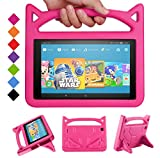 2019 New Fire HD 10 Kids Case -Riaour Shock Proof Light Weight Convertible Handle Stand Kids Friendly Cover for Fire HD 10.1' Tablet(Compatible with 2019&2017 Released)-Rose