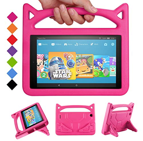 2020 Tablet case 10 inch Snowwicase All-New Amazon firl Kindle 10 Tablet case Waterproof Lightweight 10 inch Portable Tablet case for Kids Fire 10 HD Tablet Case (5th/7th/9th Generation) (Pink)