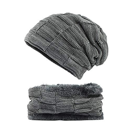 YXIU 2 Stücke Beanie Mütze Schal Set, Wolle Warme Strickmütze Dicke Fleecefutter Wintermütze & Schal für Herren und Damen (Grau)