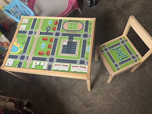MakeThisMine Ikea LATT - Juego de mesa y 1 silla con nombre de madera grabado de ciudad, carretera, país, mapa impreso, juego de escritorio para niños, niñas, amigos, familia
