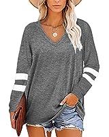 Grace's Secret Women's Tops V Neck T Shirts Long Sleeve Casual Tunic Tops,Grey,L