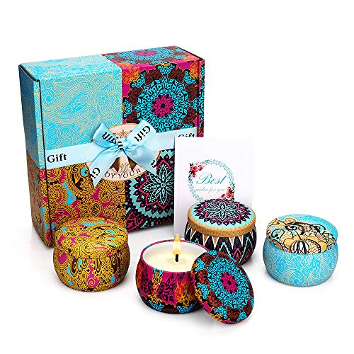 Scented Candles Gift Set, Natural Soy Wax 4.4 Oz Portable Travel Tin Candles Women Gift with...