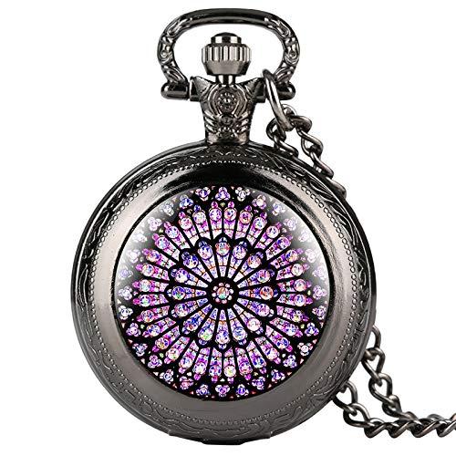 LLXXYY Collar De Reloj De Bolsillo,Vintage Rosetón Vidrieras Notre Cuarzo Negro Reloj De Bolsillo Colgante Collar Reloj Steampunk Coleccionables Unisex