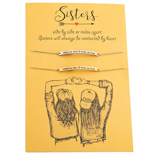 Aways My Sister Forevery My Friend Inspirational Sisters Bracelets for 2, 16K Gold Plated
