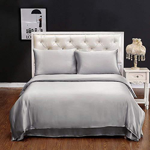 LilySilk Seide Bettbezug 135x200cm Bettbezüge mit Edlem Schlafkomfort in 100% Seide von 19 Momme - Silbergrau Verpackung MEHRWEG