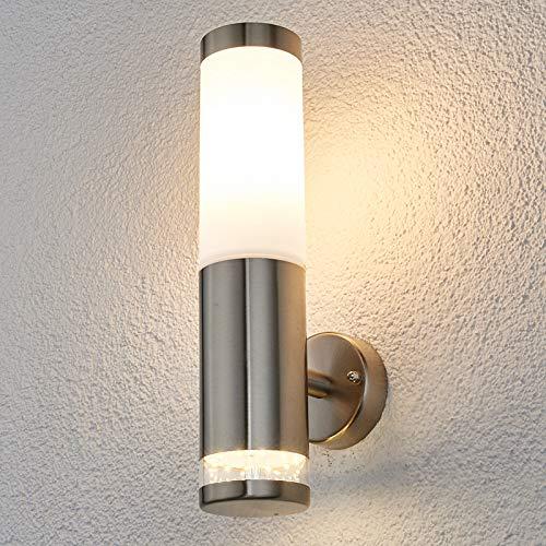 Lindby Edelstahl Wandleuchte aussen | Wandlampe aussen IP44 | 1x 11W E27 (exklusive) & 1x 0,7 W LED A++ | Außenbeleuchtung Wand | Aussenwandleuchte
