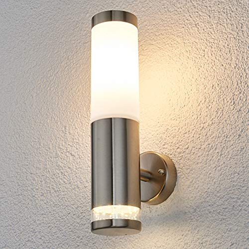 Lindby Wandleuchte außen 'Binka' (spritzwassergeschützt) (Modern) in Alu aus Edelstahl (1 flammig, E27, A++) - Außenwandleuchten, Wandlampe, Außenlampe, Wandlampe für Outdoor & Garten
