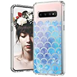 MOSNOVO Galaxy S10 Case, Mermaid Scale Printed Pattern Clear Design Transparent Plastic Hard Back Case with TPU Bumper Protective Case Cover for Samsung Galaxy S10