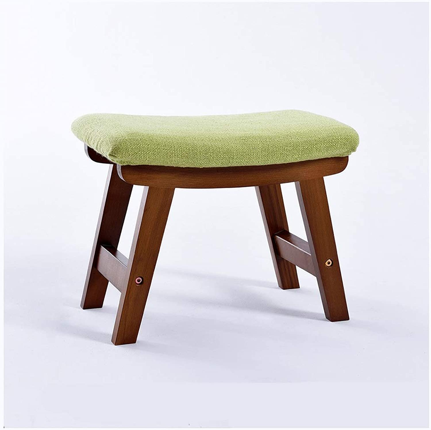 SMC stool Fashion Creative Home Solid Wood Fabric Change shoes Stool Sofa Stool Adult Foot Stool (color   Green)