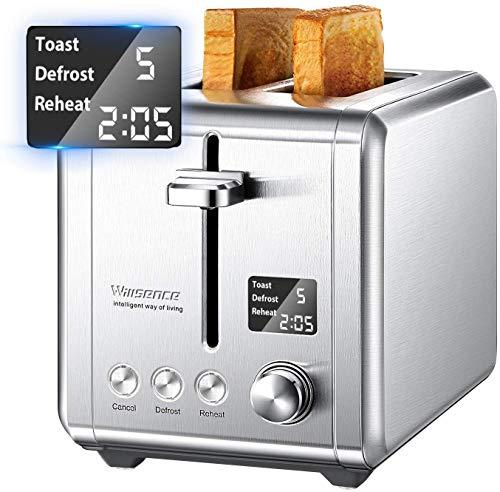Grille Pain avec 2 Fentes Extra-larges 900W avec LCD Écran et 9 Niveaux de Brunissage, Toaster conclus Countdown,...