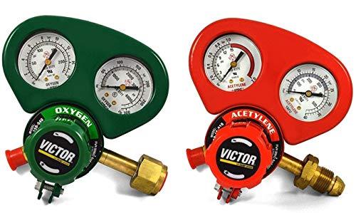 Set of Medium Duty Victor Oxygen & Acetylene Regulators w/Metal Gauge Guards