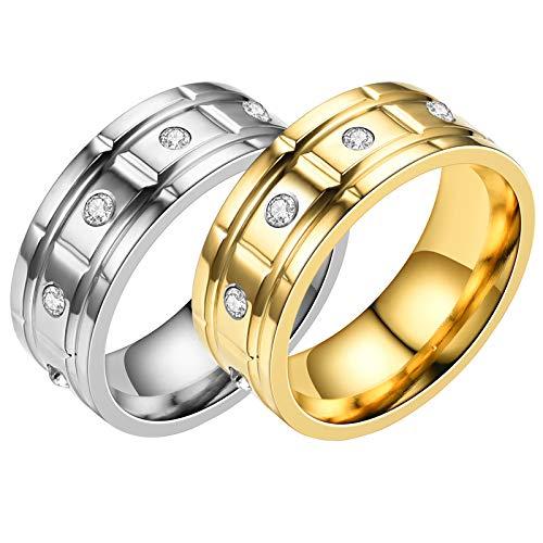 HFSKJWI Anillo de Acero Inoxidable,Anillo de Acero de Titanio con Diamantes,Anillo de Pareja, Accesorios Exagerados,Plata y Oro,2 Piezas,No. 10