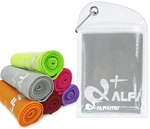 """Cooling Towel for Instant Relief - 33"""" Long Ultra Soft Breathable Mesh Yoga Towel - Keep Cool for Running Biking Hiking Golf & All Other Sports, Waterproof Bag Packaging with Carabiner"""