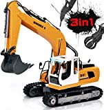 Volvo RC Excavator Construction Truck 17 Channel 1/16 Scale RC Truck Digger with 2 Batteries Remote Control Excavator 2.4Ghz Tractor Vehicle Toy with Light and Sound for Kids