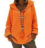 Jersey con Capucha Mujer Gordo Sueter de Punto Manga Larga Jerseys Grueso De Señora Oversize Jerséis Largo Jerseis Chica Sweaters De Mujer Suéter Pullover Grueso Anchos Amplio Invierno Naranja 2XL