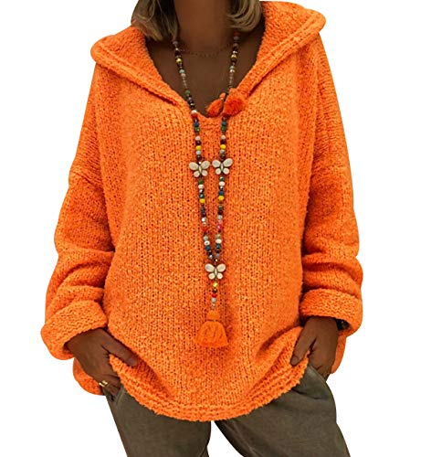 Jersey con Capucha Mujer Gordo Sueter de Punto Manga Larga Jerseys Grueso De Señora Oversize Jerséis Largo Jerseis Chica Sweaters De Mujer Suéter Pullover Grueso Anchos Amplio Invierno Naranja XL