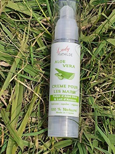 Crème pour les mains à l'Aloe Vera et Lait d'ânesse, 100% naturel, en 50 ml