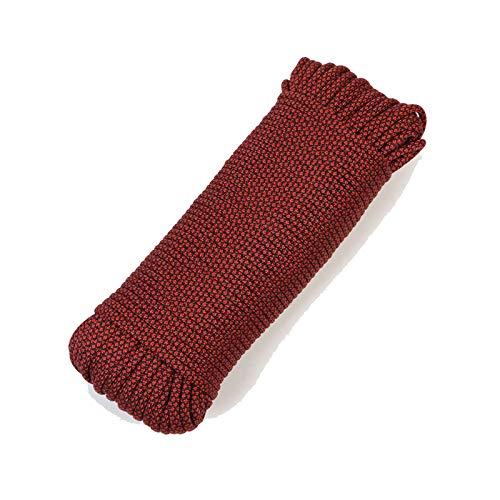 QDTD Cuerda 4mm Cuerda De Seguridad Multifuncional, Cuerda De Camuflaje Roja Y Negra, Cuerda De Seguridad De Nylon, Cuerda De Escape De Seguridad, Camping, Escape De Desastres Equipo(30M-150M)