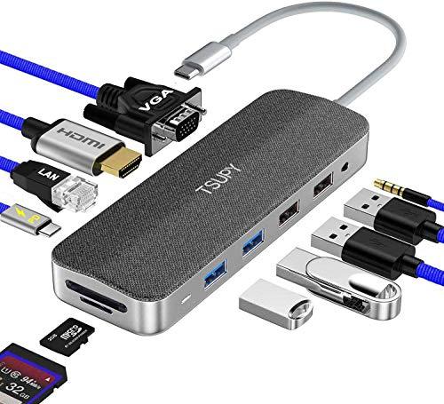 TSUPY USB C Hub Thunderbolt 3 12 in 1 Stoff+ Aluminium Dual Display USB C Adapter HDMI 4K VGA Ethernet Audio 4 USB SD TF USB C Power Delivery Docking Station für MacBook Pro Surface Pro 7 usw